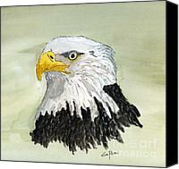 Eagle Drawings Canvas Prints - Bald Eagle Canvas Print by Eva Ason