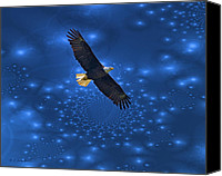 Walker Digital Art Canvas Prints - Bald Eagle Soaring Through Space Canvas Print by J Larry Walker