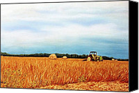 Rural Landscapes Pastels Canvas Prints - Baling Hay Canvas Print by Jan Amiss