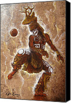 Ball Mixed Media Canvas Prints - Ball Game Canvas Print by Juan Jose Espinoza