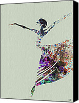 Seductive Canvas Prints - Ballerina dancing watercolor Canvas Print by Irina  March
