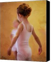 Little Girls Canvas Prints - Ballerina in Pink Canvas Print by Colleen Taylor