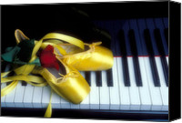 Dance Ballet Roses  Canvas Prints - Ballet shoes on piano keys Canvas Print by Garry Gay