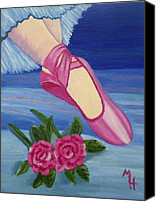 Dance Ballet Roses  Canvas Prints - Ballet Toe Shoes for Madison Canvas Print by Margaret Harmon