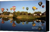 Hot Air Balloons Canvas Prints - Balloon Rally Reflection Canvas Print by Carol Groenen