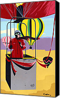 Umber Canvas Prints - Ballooning balloons balloonists 1980s 80s original pop art nouveau painting print red yellow retro  Canvas Print by Walt Curlee