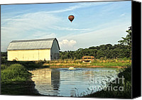 Hot Air Balloon Canvas Prints - Balloons And Barns Canvas Print by Lara Ellis