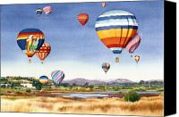 Santa Fe Canvas Prints - Balloons over San Elijo Lagoon Encinitas Canvas Print by Mary Helmreich