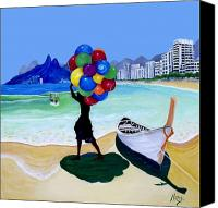 Baloons Canvas Prints - Baloon Man Canvas Print by Claude Arango