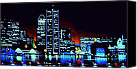 Skylines Painting Canvas Prints - Baltimore by black light Canvas Print by Thomas Kolendra