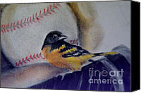 Baseball Pastels Canvas Prints - Baltimore Orioles Canvas Print by AE Hansen