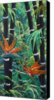 Prankearts Canvas Prints - Bamboo and birds of paradise Canvas Print by Richard T Pranke