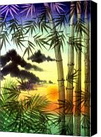 Tropical Sunset Canvas Prints - Bamboo at Sunset Canvas Print by Jennifer Baird