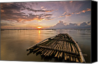 Wooden Post Canvas Prints - Bamboo Raft Canvas Print by Landscape Artist