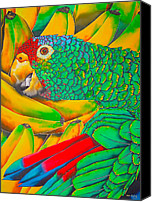 Exotic Bird Tapestries - Textiles Canvas Prints - Banana Amazon Canvas Print by Daniel Jean-Baptiste