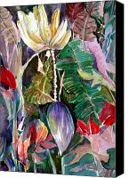 Plants Mixed Media Canvas Prints - Banana and Pods Canvas Print by Mindy Newman