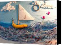 Found Paper Canvas Prints - Banana Boat Canvas Print by Betsy Baldwin-Owens