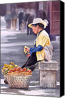 Vendor Painting Canvas Prints - Banana Break Canvas Print by Sharon Freeman
