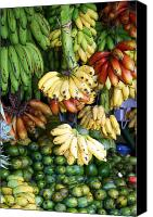 Food And Beverage Canvas Prints - Banana display. Canvas Print by Jane Rix