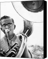 Tuba Canvas Prints - Band Member Canvas Print by Hans Namuth and Photo Researchers