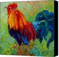 Farm Tapestries Textiles Canvas Prints - Band Of Gold - Rooster Canvas Print by Marion Rose