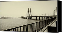 Railing Canvas Prints - Bandra Worli Sea Link Canvas Print by For me, photographs are a great medium to tell a story. Whe