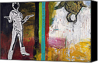 Raw Mixed Media Canvas Prints - Bang Bang Canvas Print by Michel  Keck