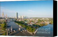 Riverside Canvas Prints - Bangkok Senic Canvas Print by Atiketta Sangasaeng