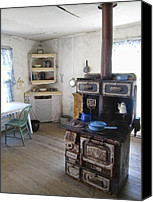 Pans Canvas Prints - BANNACK GHOST TOWN  KITCHEN and STOVE - MONTANA TERRITORY Canvas Print by Daniel Hagerman