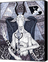 Goat Drawings Canvas Prints - Baphomet Canvas Print by Jeremy Baum