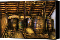 Bars Canvas Prints - Bar - Wine Barrels Canvas Print by Mike Savad