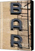 Daylight Photo Canvas Prints - Bar. Neon writing Canvas Print by Bernard Jaubert