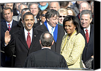 Michelle-obama Canvas Prints - Barack Obama Is Sworn In As The 44th Canvas Print by Everett