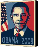 President Obama Canvas Prints - Barack Obama Presidential Poster Canvas Print by Sue  Brehant