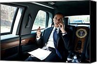 Democrats Canvas Prints - Barack Obama Talks To A Member Canvas Print by Everett