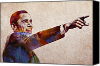 Campaign Canvas Prints - Barack Obama Watercolor Canvas Print by Stefan Kuhn