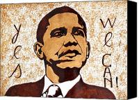 Barack Obama Pop Art Coffee Art Canvas Prints - Barack Obama Words of Wisdom coffee painting Canvas Print by Georgeta  Blanaru