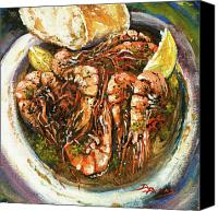 Bread Canvas Prints - Barbequed Shrimp Canvas Print by Dianne Parks