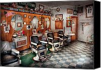 Chairs Canvas Prints - Barber - Frenchtown Barbers  Canvas Print by Mike Savad