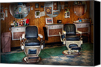 Suburbanscenes Canvas Prints - Barber - Frenchtown NJ - Two old barber chairs  Canvas Print by Mike Savad