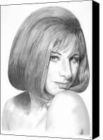 Famous Drawings Canvas Prints - Barbra Streisand Canvas Print by Rob De Vries