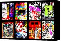 Barcelona Digital Art Canvas Prints - Barcelona Doors ... All Graffiti Canvas Print by Funkpix Photo  Hunter