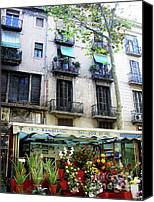 Balconies Canvas Prints - Barcelona Las Ramblas Canvas Print by Julie Palencia