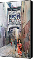 Watercolor  Special Promotions - Barcelona Canvas Print by Natalia Eremeyeva Duarte