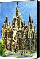 Tourists Painting Canvas Prints - Barcelona Spain Canvas Print by Irina Sztukowski