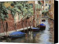Gondola Canvas Prints - Barche A Venezia Canvas Print by Guido Borelli