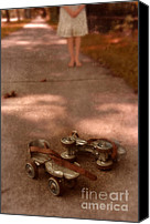 Roller Skates Canvas Prints - Barefoot Girl on Sidewalk with Roller Skates Canvas Print by Jill Battaglia