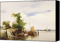 Signed Photo Canvas Prints - Barges on a River Canvas Print by Richard Parkes Bonington