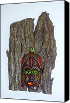 Wood Reliefs Canvas Prints - BarkFace Canvas Print by Douglas Fromm