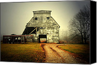 Indiana Autumn Canvas Prints - Barn and Horse Trailer Canvas Print by Mark Orr